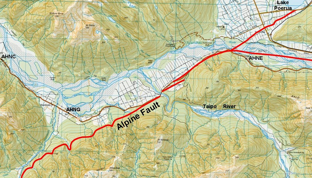 Alpine Fault location on NZTM50 Map