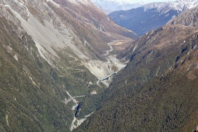 Otira Viaduct and old zig zag road